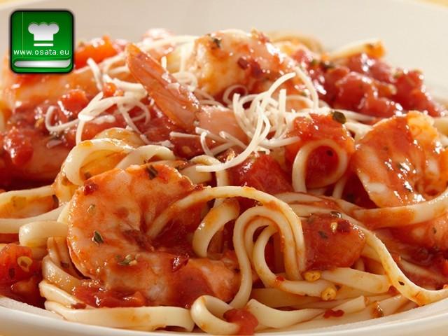 Рецепта за паста със скариди и домати