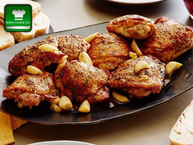 Рецепта за печено пилешко с 40 скилидки чесън